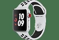 APPLE Watch Nike+ (GPS + Cellular) 38 mm Smartwatch Aluminium Hochleistungs-Fluorelastomer, 130-200 mm, Silber mit Nike Sportarmband Pure Platinum/Schwarz