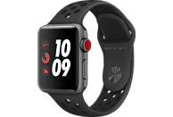 APPLE Watch Nike+ (GPS + Cellular) 38 mm Smartwatch Aluminium Hochleistungs-Fluorelastomer, 130-200 mm, Space Grau mit Nike Sportarmband Anthrazit/Schwarz