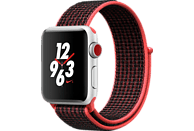 APPLE Watch Nike+ (GPS + Cellular) 38 mm Smartwatch Aluminium Nylon, 130-190 mm, Silber mit Nike Sport Loop Bright Crimson/Schwarz