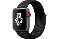 APPLE Watch Nike+ (GPS + Cellular) 38 mm Smartwatch Aluminium Nylon, 130-190 mm, Space Grau mit Nike Sport Loop Schwarz/Pure Platinum