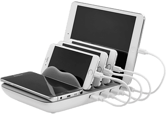 XLAYER Family Charger Maxi 4-Port USB PLUS Wireless Ladestation Universal, 230 Volt 3.7 Volt, Weiß/Grau