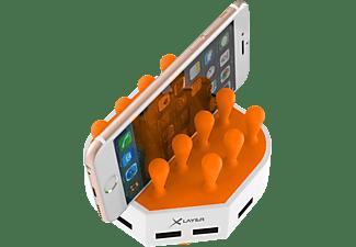 XLAYER Family Charger Mini 4-Port USB Ladestation Universal, 230 Volt 3.7 Volt, Weiß/Orange