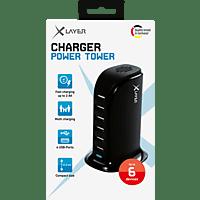 XLAYER Power Tower 6-Port USB Ladestation, Schwarz
