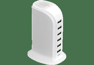 XLAYER Power Tower 6-Port USB Ladestation Universal, 230 Volt 3.7 Volt, Weiß