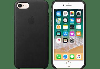 APPLE Leder Case, Backcover, Apple, iPhone 7, iPhone 8, Schwarz
