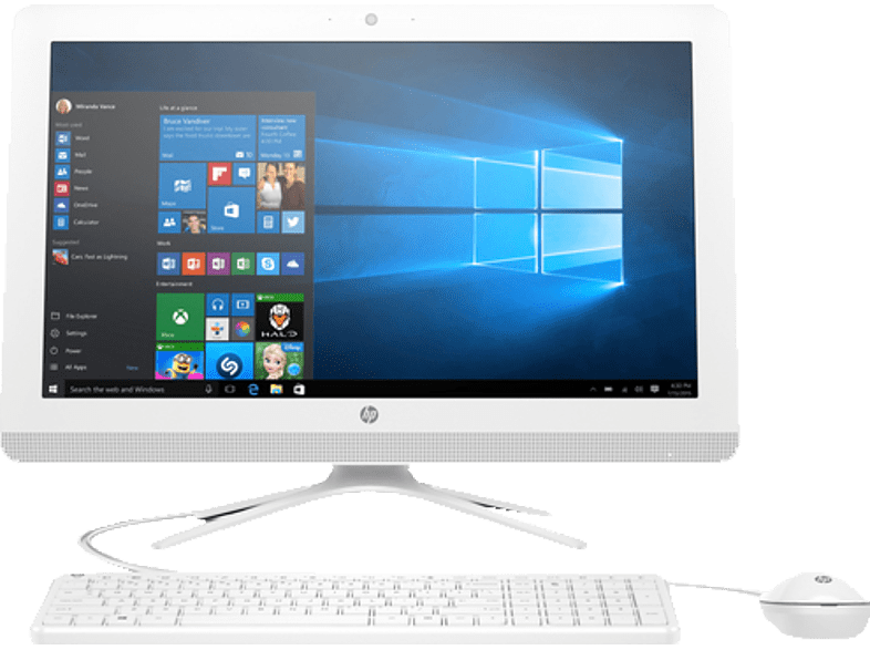 HP 22-B006NG, All-in-One-PC mit 21.5 Zoll Display, A6 Prozessor, 4 GB RAM, 1 TB HDD, Radeon R4, Snow White