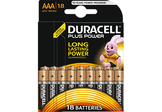 DURACELL AAA/LR03 PLUS POWER ALKALINE 18PCS - Pile (Nero/Rame)