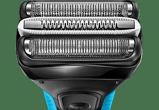 BRAUN Series 3 ProSkin 3040s + Kulturbeutel, Reiseetui, Gillette Gel Rasierer Schwarz/Blau  (MicroComb Technologie)