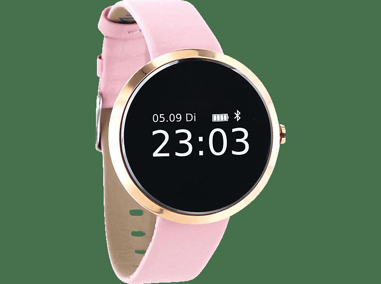XLYNE X WATCH PRO SIONA XW FIT (54010) Smartwatch Metall Kunstleder, 185 mm x 18 mm, Gehäuse Roségold Armband Light Rose