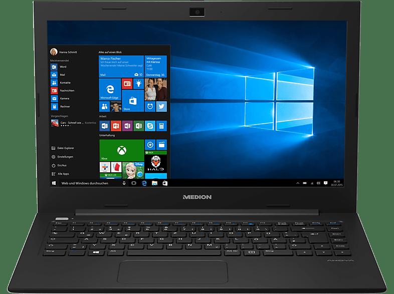 MEDION Akoya S4219 (MD60754), Notebook mit 14 Zoll Display, Celeron® Prozessor, 64 GB Flash, HD-Grafik 400, Schwarz