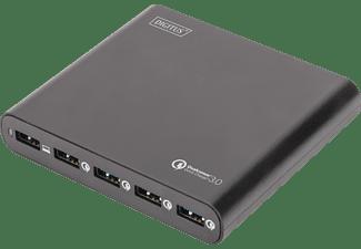 DIGITUS Reise Ladestation, 40W, 2x USB A, USB C, Quick Charge 3.0, EU/US/UK Ladestation Universal 80 Watt, Schwarz