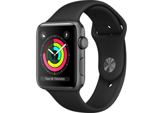 APPLE Watch Series 3 - 38mm Aluminiumboett i Space Gray med Svart Sportband (2018/19)