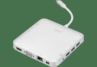 DIGITUS Universal, USB Typ-C, USB 3.1, HDMI, MiniDP, VGA, RJ45 Dockingstation, Silber