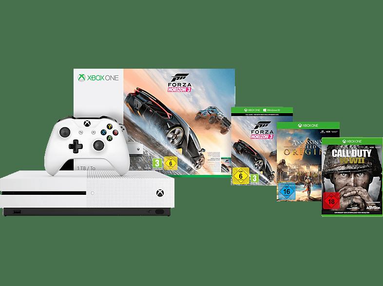 MICROSOFT Xbox One S 1TB Konsole - COD WW 2 & Assassins's Creed Origins & Forza Horizon 3