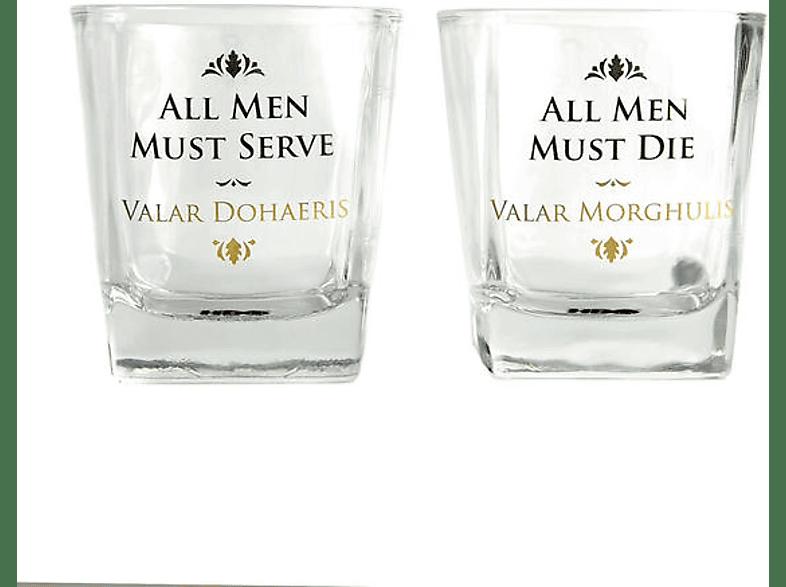 HALF MOON BAY Game of Thrones Whiskeygläser 2-er Set, All Men Must... Merchandise, Transparent/Bedruckt