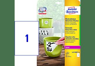 AVERY ZWECKFORM Wetterfeste Folien-Etiketten, 210 x 297 mm,20 Bogen/20 Etiketten, weiß (L4775REV-20)