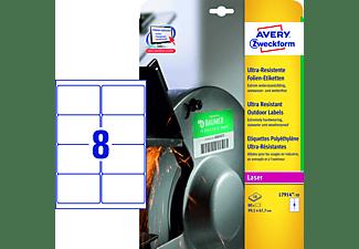 AVERY ZWECKFORM Ultra-Resistente Folien-Etiketten,99,1 x67,7 mm,10 Bogen/80 Etiketten,weiß(L7914-10)