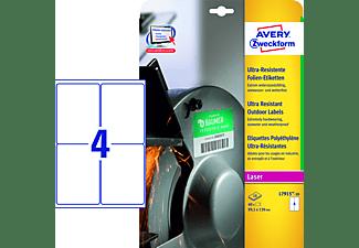AVERY ZWECKFORM Ultra-Resistente Folien-Etiketten, 99,1 x139 mm,10 Bogen/40 Etiketten,weiß(L7915-10)