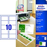 AVERY ZWECKFORM Visitenkarten 85x54 mm ILK matt 200g, glatte Kante 10 Blatt (C32011-10)