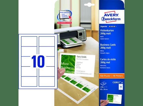 Avery Zweckform Visitenkarten 85x54 Mm Matt 200g 25 Blatt