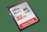 SANDISK Ultra, SDHC Speicherkarte, 32 GB, 80 MB/s