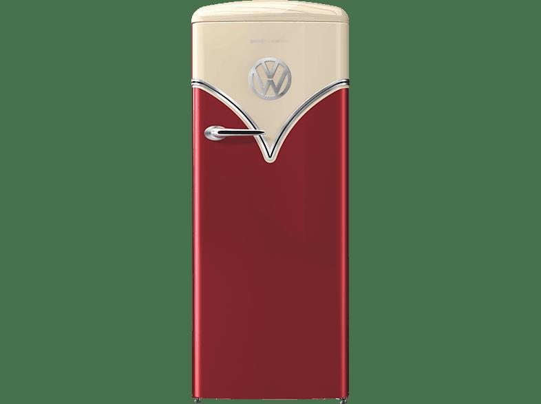 GORENJE OBRB 153 R VW-Bulli Retro Kühlschrank E, 1540 mm hoch, Burgund Champagner