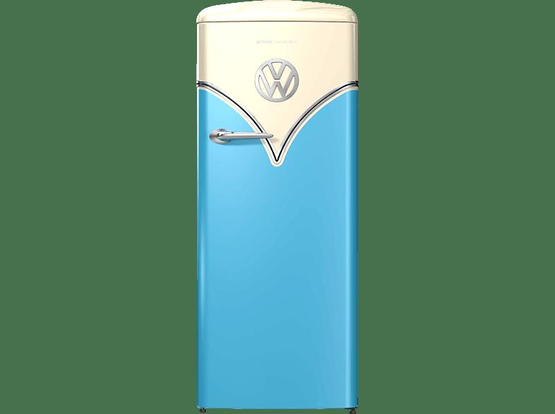 GORENJE OBRB 153 BL VW-Bulli Retro Kühlschrank E, 1540 mm hoch, Baby Blau Champagne