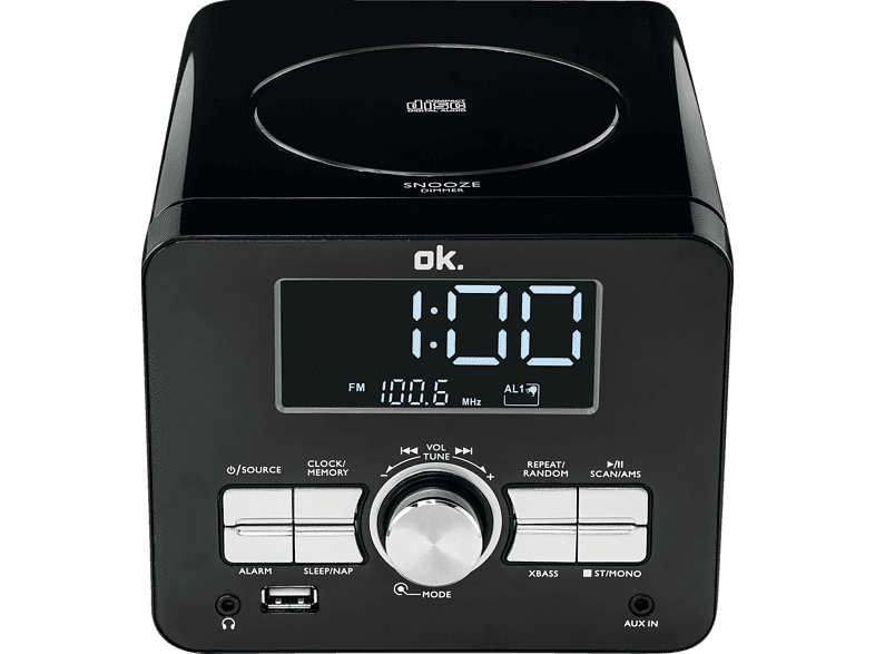 OK. OCR 100 Radio-Uhr (FM, FM, Schwarz)