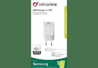 CELLULAR LINE USB Charger Kit 5 Watt Ladegerät Samsung, Weiß
