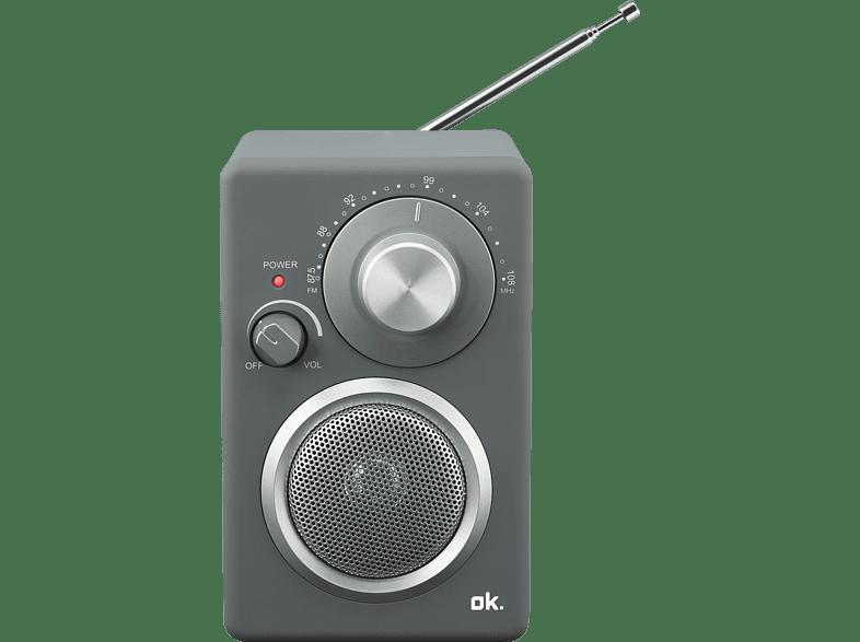 OK. ORF 310 Tragbares FM-Radio (FM, Grau)