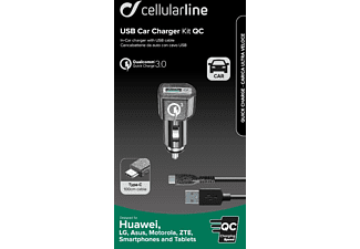 CELLULAR LINE Qualcomm 3.0 Kfz Ladegerät Universal, Schwarz