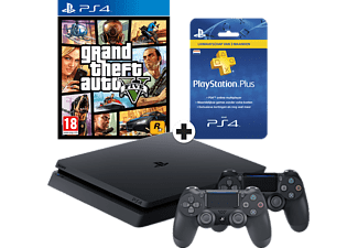 SONY PlayStation 4 (Slim)  1 TB + extra controller + GTA V + 3 mnd PlayStation Plus