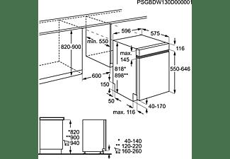 AEG FEE63600PM Geschirrspüler (teilintegrierbar, 596 mm breit, 44 dB (A), D)