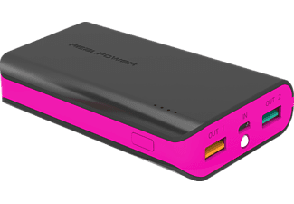 REALPOWER PB-6k Color Edition Powerbank 6000 mAh Schwarz/Pink