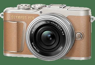 OLYMPUS PEN E-PL 9 Pancake Kit Systemkamera mit Objektiv 14-42 mm f/3.5, 7,6 cm Display Touchscreen, WLAN