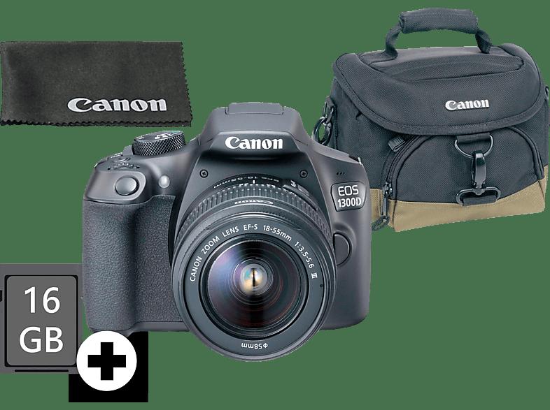 CANON EOS 1300D Kit Spiegelreflexkamera, 18 Megapixel, Full HD, 18-55 mm Objektiv (DC, EF-S), WLAN, Schwarz