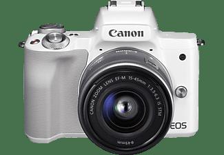 CANON EOS M50 Kit Systemkamera mit Objektiv 15-45 mm f/6.3, 7,5 cm Display Touchscreen, WLAN