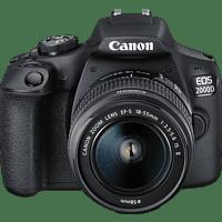 CANON EOS 2000D Kit Spiegelreflexkamera 24.1 Megapixel mit Objektiv 18-55 mm f/5.6 (7,5 cm, WLAN)