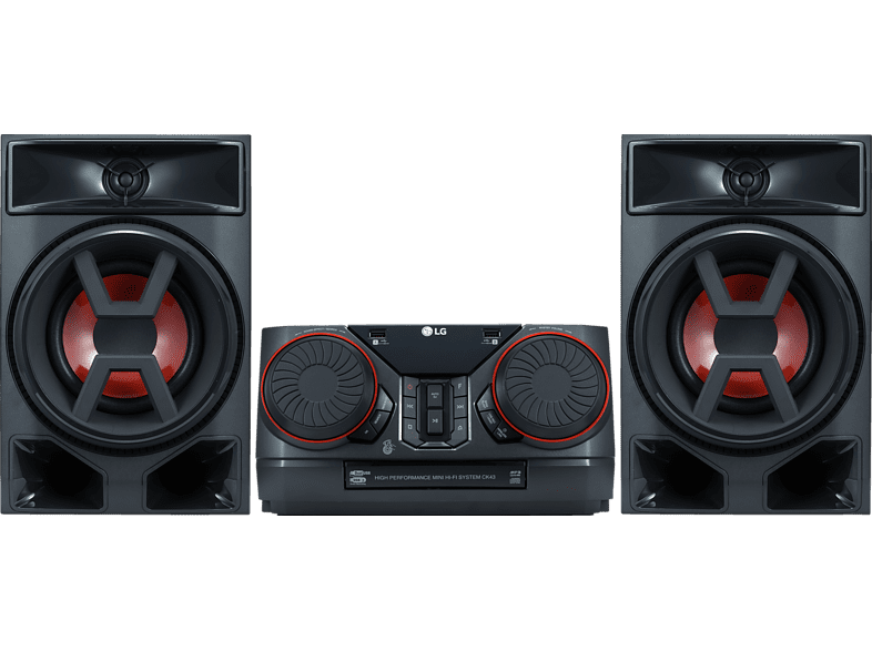 LG CK43 Mini-HiFi Soundsysteme Kompaktanlage (CD, USB, Schwarz)