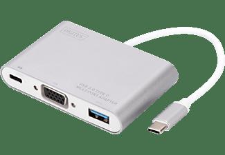 DIGITUS DA-70839, USB Typ-C auf VGA, USB 3.0 & Typ-C PD - Full HD, Multiport Adapter, 2 m