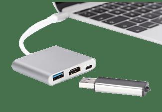 DIGITUS DA 70838-1  USB Typ-C auf HDMI, USB 3.0 & Typ-C mit PD, 4K30Hz Ultra HD Multiport Adapter, Silber