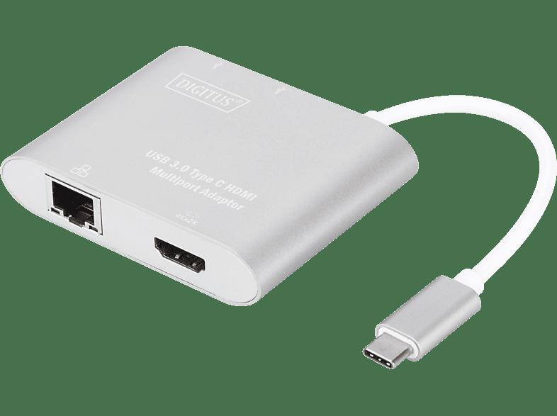 DIGITUS DA 70847 USB Typ-C auf 1x HDMUI, 1x RJ45 Gigabit, 2x USB A 3.0 Ports, Multiport Adapter