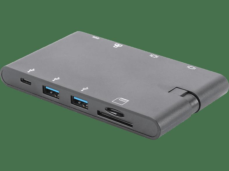 DIGITUS DA 70865 USB Typ-C, Ultra HD, neun weitere Ports, Universal, Travel Docking Station