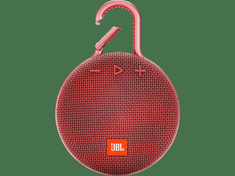 JBL Clip 3 Bluetooth Lautsprecher, Rot, Wasserfest