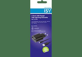 ISY IWC-6100 Ladegerät + Lightning Ladekabel Apple, Schwarz
