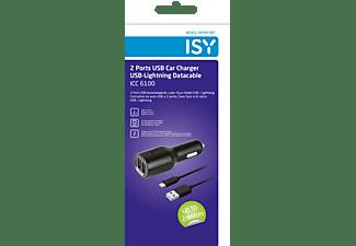 ISY USB Auto Ladegerät + Lightning Ladekabel Apple, Schwarz
