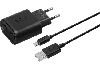 ISY USB Ladegerät + Micro USB Kabel Universal, Schwarz