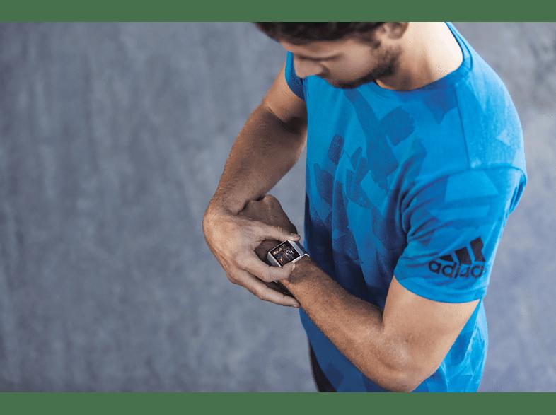 FITBIT Ionic Adidas Edition Smartwatch Aluminium, Elastomer, SL, DunkelblauGrau
