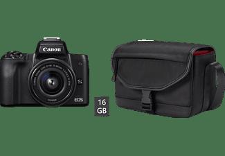 CANON EOS M50 Kit Systemkamera mit Objektiv 15-45 mm f/3.5-6.3, 7,5 cm Display Touchscreen, WLAN