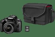 CANON EOS 4000D Kit inkl. Tasche und Speicherkarte Spiegelreflexkamera, 18 Megapixel, Full HD, HD, 18-55 mm Objektiv (EF-S), WLAN, Schwarz